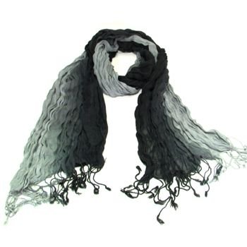 LIGHT CRINKLE BRAID LONG SCARF WRAP SHAWL 70x25 BLACK