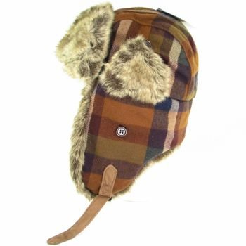 FAUX FUR PLAID TROOPER PILOT SKI HAT BLACK NAVY M/L