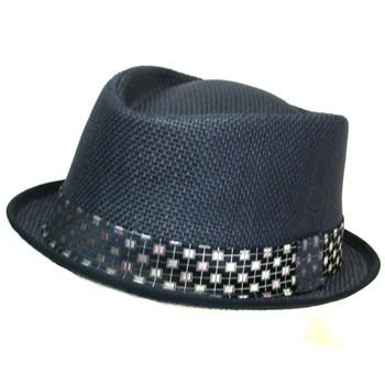 VENT SUMMER UPTURN DIAMOND FEDORA TRILBY HAT NAVY M/L