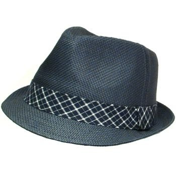 VENTED PLAID STINGY SUMMER FEDORA TRILBY HAT NAVY M/L