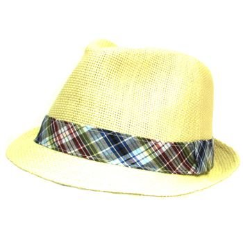 VENTED PLAID BAND SUMMER FEDORA TRILBY HAT NAURAL L/XL