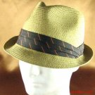 BRAID 3 PLEAT BAND STINGY FEDORA TRILBY HAT NATURAL M/L