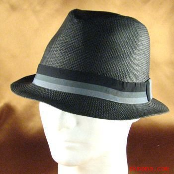 STRIPE BAND STINGY BRIM BRAID FEDORA TRILBY HAT BLACK L