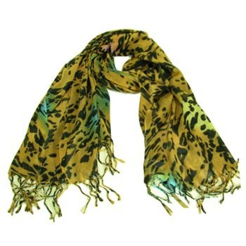 Animal Print Leopard Light Scarf Shawl Wrap Multi Beige
