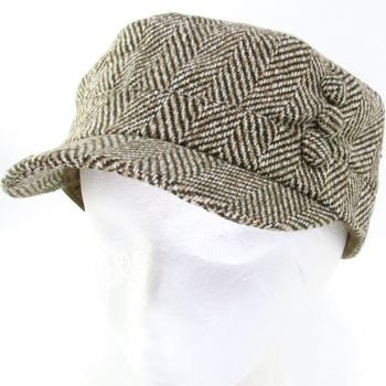 WOOL HERRINGBONE 3 BUTTON CADET CABBIE CAP HAT BROWN