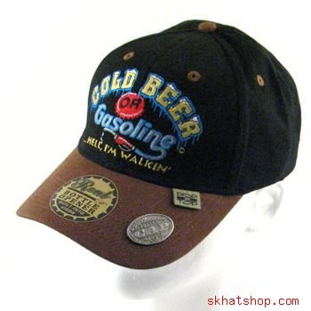 BEER OR GAS - BOTTLE CAP OPENER BLACK HUNT FISH CAP M/L