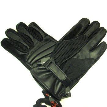 Men's Leather Light Mesh Padded Biker Driver Gloves L