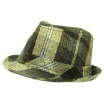 San Diego Hat Co Textured Plaid Fedora Trilby Brown XL