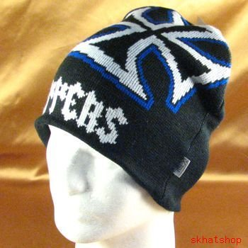 Black Blue KNIT CHOPPER BEANIE SKULL BIKER CAP HAT M/L