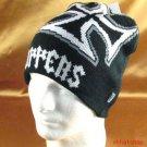 Black Gray KNIT CHOPPER BEANIE SKULL BIKER CAP HAT M/L