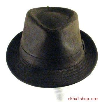 NWT FAUX SUEDE STINGY BRIM FEDORA TRILBY HAT BROWN S/M