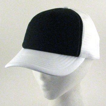 COTTON  2 TONE MESH TRUCKER URBAN HAT CAP BLACK WHITE