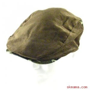 CORDUROY 2 TONE CAMO IVY DRIVING GOLF CAP HAT BROWN M/L