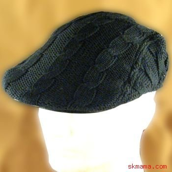 100% COTTON KNIT CABLE IVY DRIVER GOLF CAP HAT BLACK ML