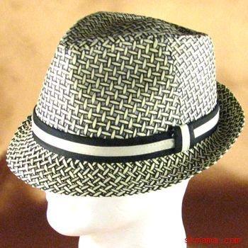 VENTED WEAVE STINGY BRAID FEDORA TRILBY HAT BLACK M/L