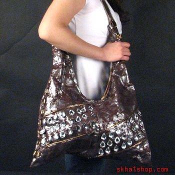 DISTRESSED LOOK BROWN SILVER CRYSTAL SHOULDER BAG PURSE