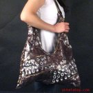 DISTRESSED LOOK BROWN SILVER CRYSTAL SHOULDER BAG PURSE
