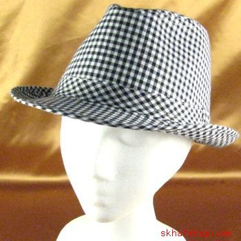 NEW COTTON PICNIC CHECK PLAID FEDORA TRILBY HAT BLACK