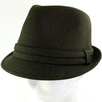 PLAID LINING STINGY FEDORA TRILBY HAT DARK BROWN L/XL