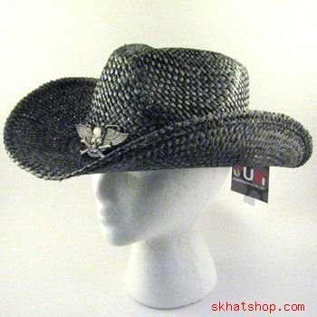 DISTRESSED STRUCTURED STRAW COWBOY METAL WING SKULL HAT