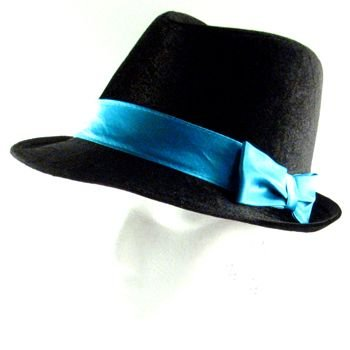 NEW VELOUR SATIN BOW FEDORA TRILBY DANCE HAT BLACK TURQ