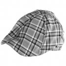 Summer Check Plaid Curved Ivy Cabby Hat Black White M/L