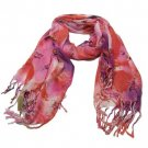 Butterfly Thin Summer Light Scarf Shawl Wrap Multi Red