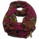 5 in 1 Infinity Floral Rose Summer Light Scarf Wine
