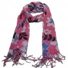 Soft Floral Print Summer Light Scarf Shawl Wrap Pink