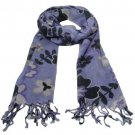 Soft Floral Print Summer Light Scarf Shawl Wrap Purple