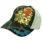 Skull Eagle Tattoo Art Ink BikerTrucker Cap Hat Black