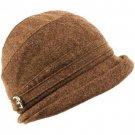 Winter Beanie Bucket Foldable Crusher Shimmer Hat Brown