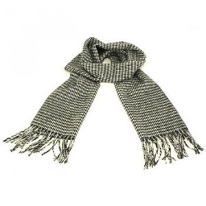 Men's Winter Cashmere Feel Scarf Houndstooth Black Wh