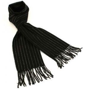 Men's Winter Ski Cashmere Feel Scarf Pinstripe Black