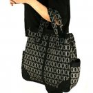 Plaid Large Handbag Tote Shoulder Body Bag Zipper Black