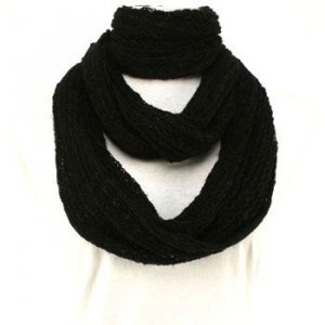 Soft Thin Knit Chain Circle Loop Eternity Scarf Black
