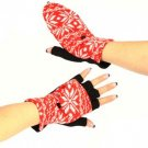 Winter Wool SnowFlake Flip Fingerless Snug Gloves Red