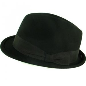 100% WOOL FELT FEDORA STINGY BRIM GODFATHER HAT BLACK L