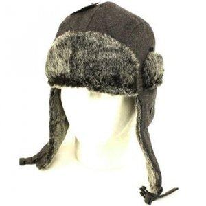Winter Faux Fake Fur Wool Trooper Ski Hat Charcoal M/L