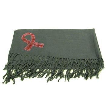 BIG 100% Pashmina Cancer Ribbon Crystal Wrap Shawl Gray