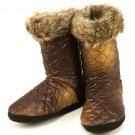 Winter Faux Fur Quilt Indoor Boots Slippers Brown S 5-6