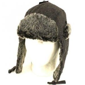 Winter Faux Fur Houndstooth Trooper Ski Hat Charcoal ML
