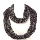 Soft Knit Chain Circle Loop Eternity Scarf Mulit- Gray