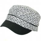 NEW COTTON FLORAL CADET MILITARY 2 TONE CAP HAT BLACK