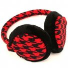 Winter Houndstooth Ski Fuzzy Earmuff Adjustable Red Blk