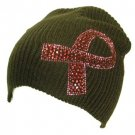 Cancer Ribbon Crystal Ribbed Beanie Ski Knit Hat Brown