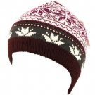 Snow Flake 2ply Knit Ski Beanie Skull Winter Hat Brown