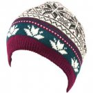 Snow Flake 2ply Knit Ski Beanie Skull Winter Hat Purple