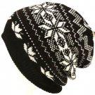 Snow Flake 2 ply Knit Ski Beanie Skull Winter Hat Black