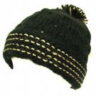 Wool Handknit Beanie Pom Pom Ski Winter Knit Hat Black